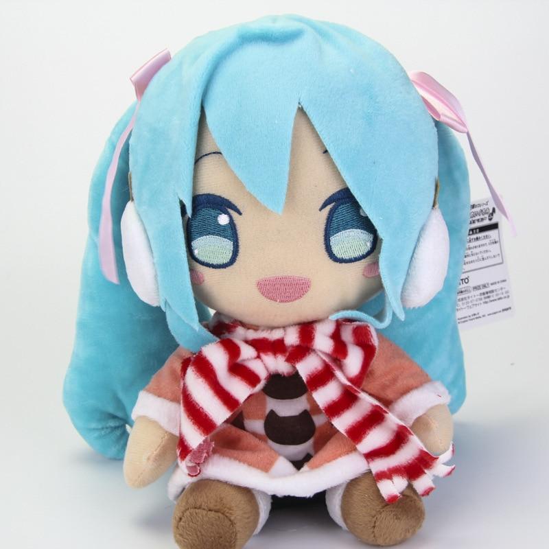 Cute Anime VOCALOID Hatsune Miku Plush Toy Snow MIKU with Shawl In Winter Classical Sitting Cosplay Doll Girl Children Gift 25cm hatsune miku winter plush doll