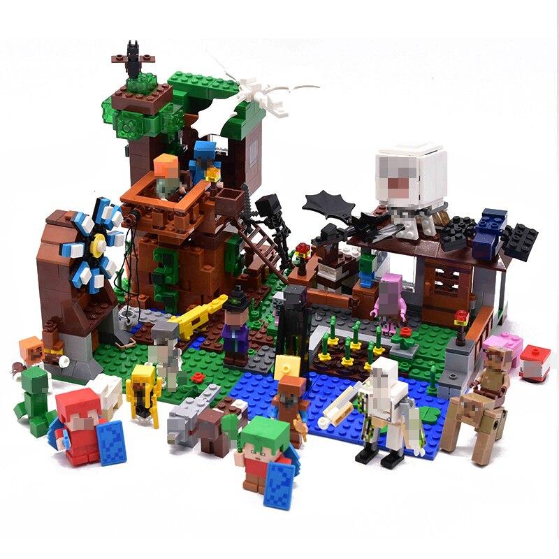 LELE Minecraft cabane 1007 pièces Mon Monde blocs de construction Briques mini-jouets Éducatifs Zombie Action figurines animées Pour Enfants