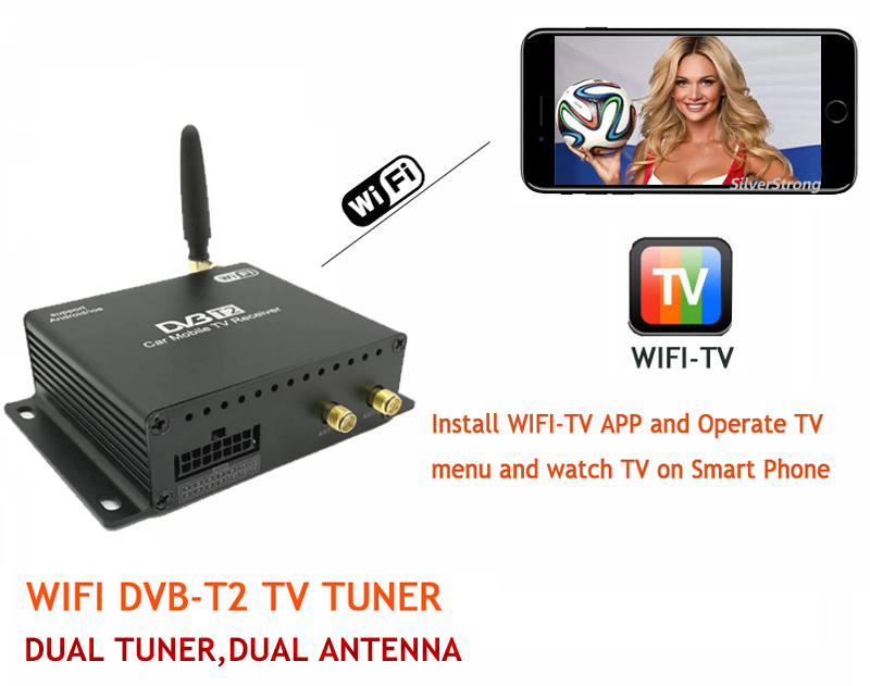 US $87 78  ZENISS DVB T2 Dual Tuner Dual Antenna Smart TV Box Receiver Wifi  Media player for Android Car DVD iOS Android Phone M818-in TV Receiver for