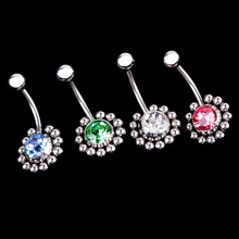 Charming Piercing Body Jewelry Rhinestones Inlaid Navel Belly Button Ring 4 Colors Body-0197