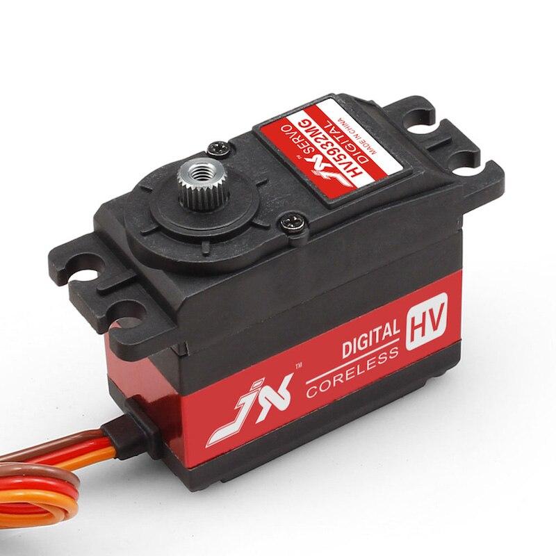 JX Servo PDI-HV5932MG 120/180/360 degrés 30 kg grand couple HV haute tension en métal engrenage numérique servo double roulement CNC boîtier alu