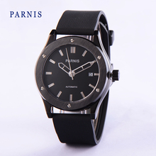 Parnis Watches Men 41mm Black Dial with Silver Markers Automatic Movement Men's Wristwatch Black Watch Band Bracelet Clasp