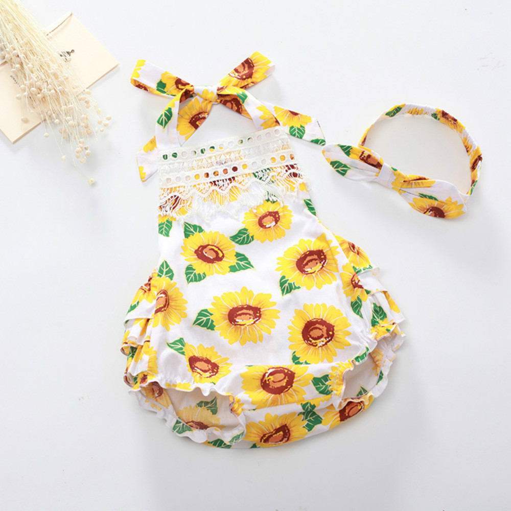 Hot Sale Baby Girls Summer Cotton Floral Clothing Rompers Sunsuits Girl Baby Cute Photo Prop Outfit Matched Headband Set