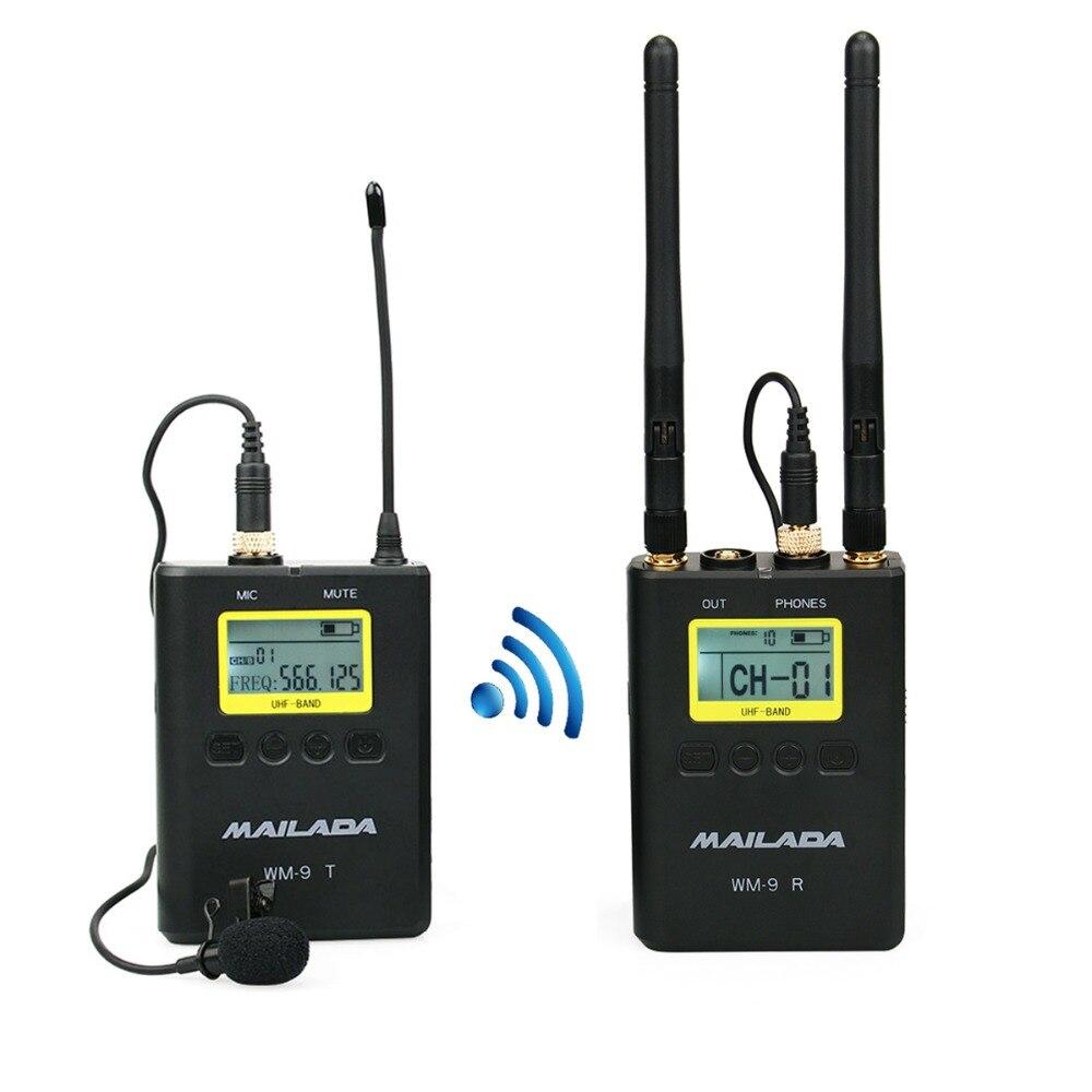 WM-9 Professionnel UHF Sans Fil Microphone Système 50 Channel Cravate Revers Micro Récepteur + Émetteur pour DSLR Caméscope Enregistreur