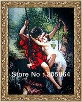 Gratis verzending hot verkoop big size stof foto, nieuwe technische artikelen, gobelins, zoete liefhebbers op de swing