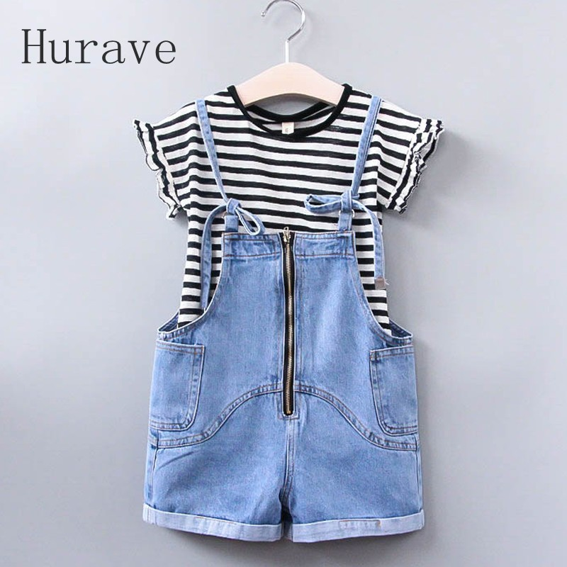 Hurave 2017 New Summer Girls Sets Children Summer Clothing Sets Kids Clothes Stripe T Shirt Pants