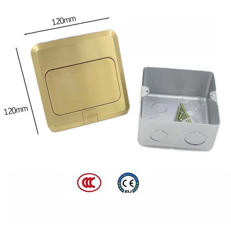 Prise JOHO Pop Up boîte de sortie de prise de sol résidentiel/usage général avec prise européenne 16A et panneau en laiton de données RJ45 - 3