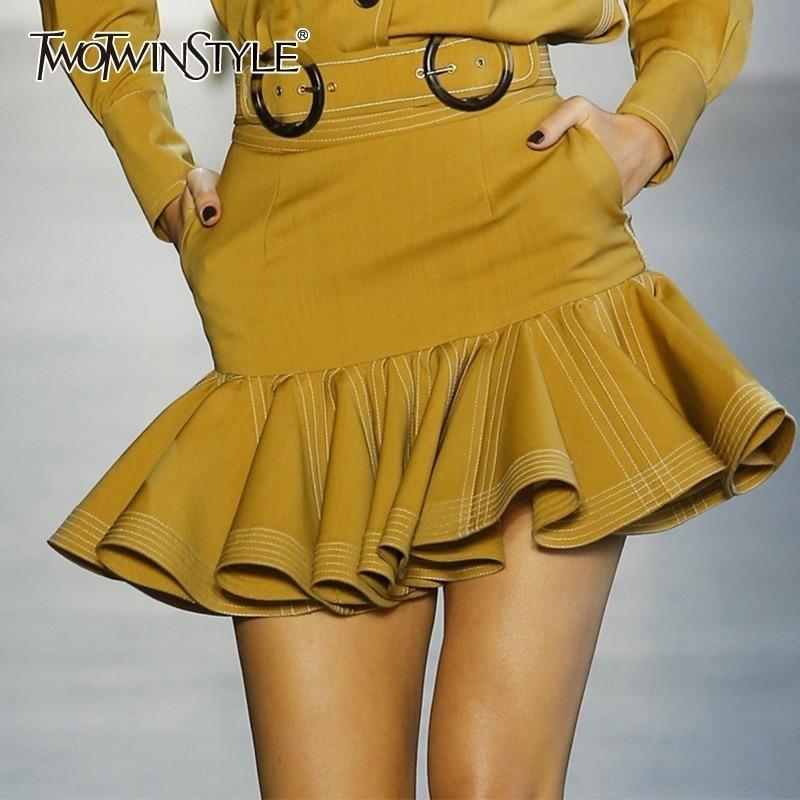 TWOTWISTYLE Elegant Solid Women Skirt High Waist Ruffles Bodycon Slim Mini Skirts Female Fashion Clothes 2019