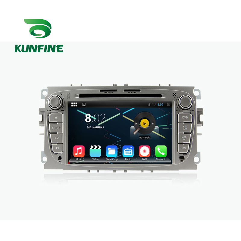 KUNFINE Android 7.1 Quad Core 2GB Car DVD GPS Navigation Player Car Stereo For FORD Focus 2007-2010 Silver Radio Headunit