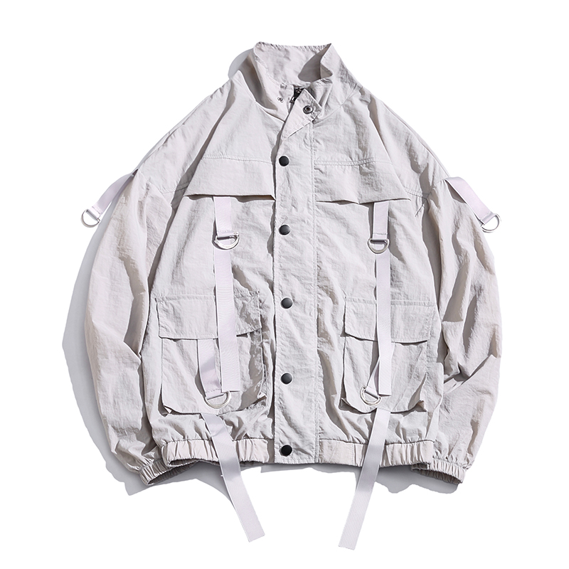 2020 New Arrival Men Fashion Men's Overalls Thin Bomber Jacket Summer Ribbons Loose Pocket Coat Hip Hop Wind Jacket US Size