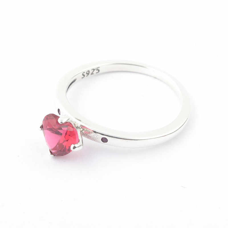 789467fd9 ... 925 Sterling Silver Pandora Ring Red Heart Shaped Crystal You & Me Ring  For Women Gift ...