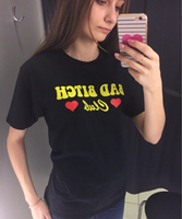 Hillbilly Yellow Letters And Red Heart Bad Bitch T Shirts Women 2017 Summer Cotton Grey T