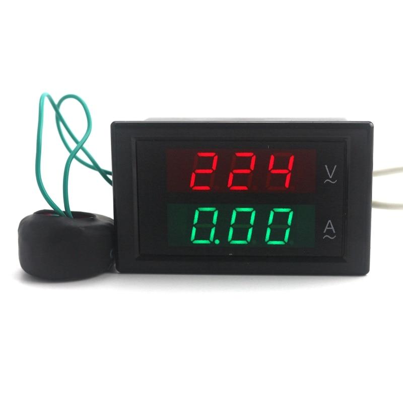 AC 80-300V AC 0-100A Digital LED Red Green Display Voltage Current Voltmeter Ammeter