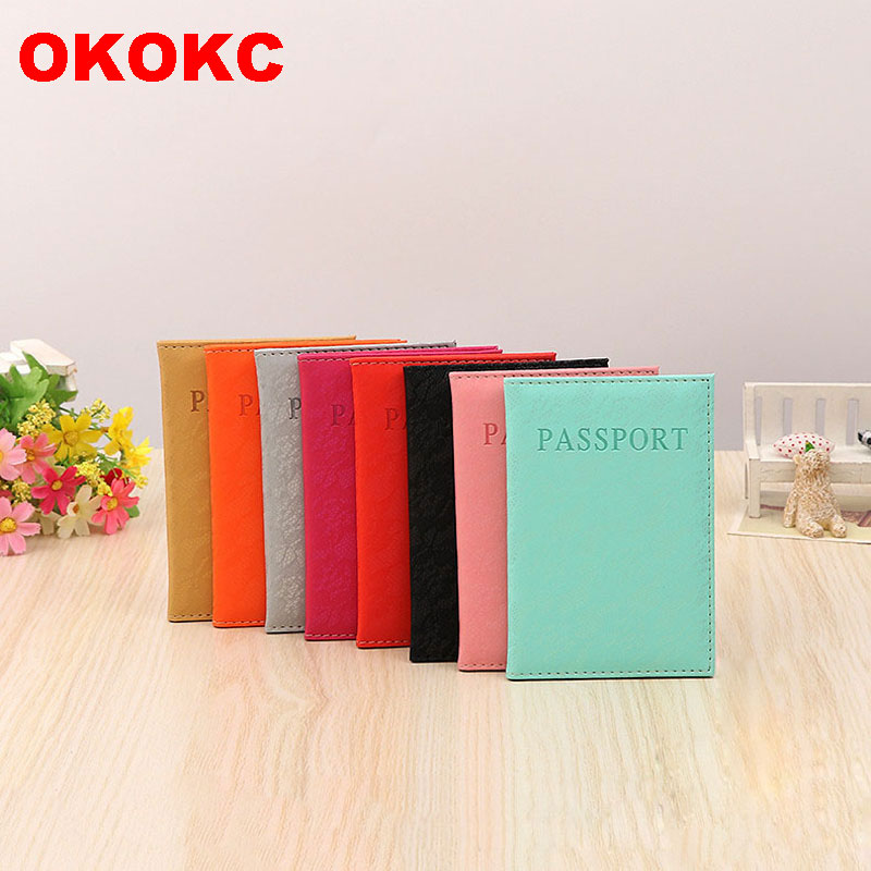 OKOKC Multifunction Solid Colors Passport Cover Candy Colors Passport Holder Women Men Travel Accessories 20*14cm