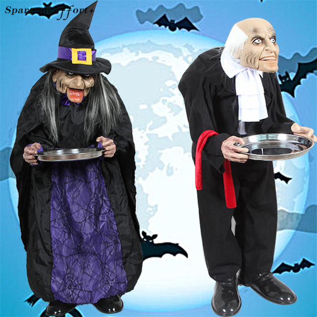 Halloween Decorations Male Female Housekeeper for Home Haunted House Party Bar KTV Standing Ghost In The Doorway Halloween Props