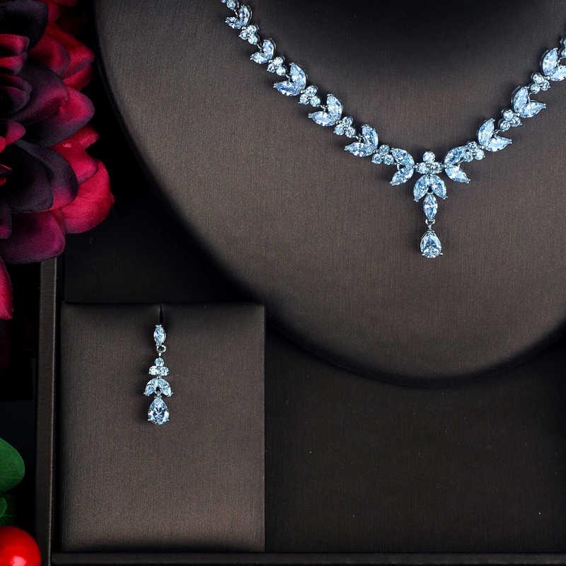 HIBRIDE Sparkly Strass CZ Braut Schmuck Sets Für Frauen Weiß Gold Farbe Blume Ohrring Halskette Set Großhandel Preis N-323