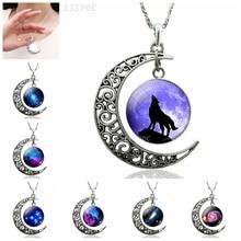Glass Cabochon Necklace Nebula Wolf Galaxy Jewelry Gift Fashion-Accessories Crescent Moon