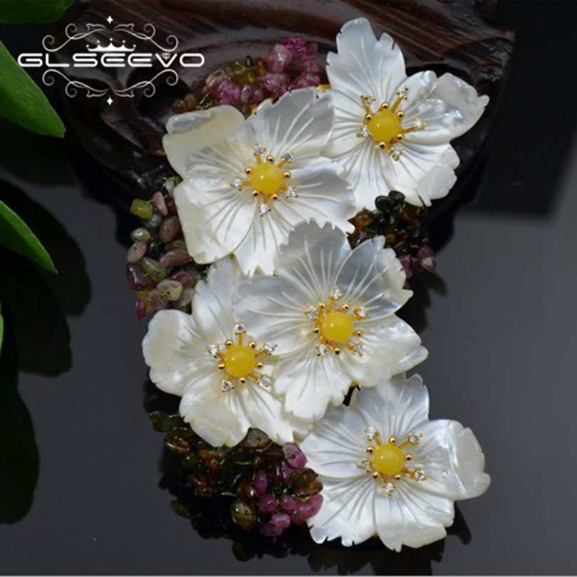 GLSEEVO Natural Mother Of Pearl Flower Brooch Pins Beeswax Tourmaline Brooches For Women Dual Use Designer Jewelry Luxury GO0236