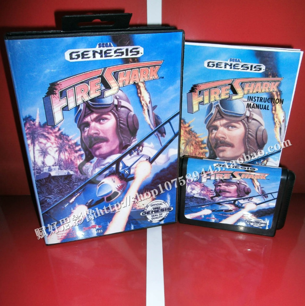 Fire Shark Game cartridge with Box and Manual 16 bit MD card for Sega Mega Drive for Genesis