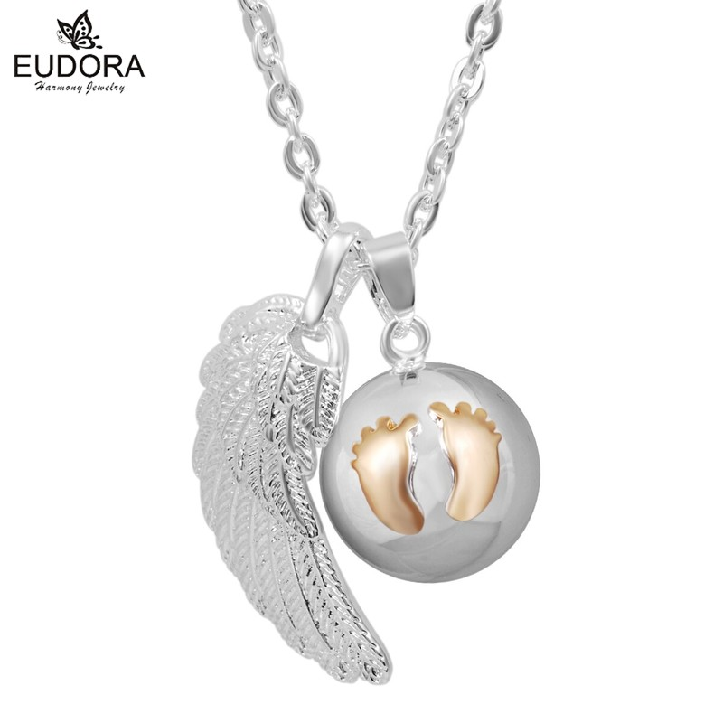 Angel Wing Mexican Bola Copper Locket Cage Harmony Bola Chain Necklaces Cute Footprints Belly Bola Pendant Jewelry FN14NB196