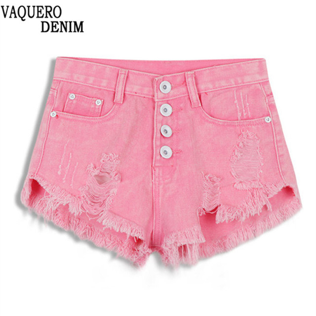 2016 New Spring And Summer Candy Colored Shorts Women Retro Short Jeans High Waist Denim Shorts Hole Pantalones Cortos Mujer 035
