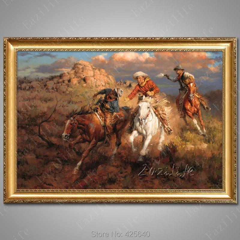 Western Cowboy Oil Paintings On Canvas Art
