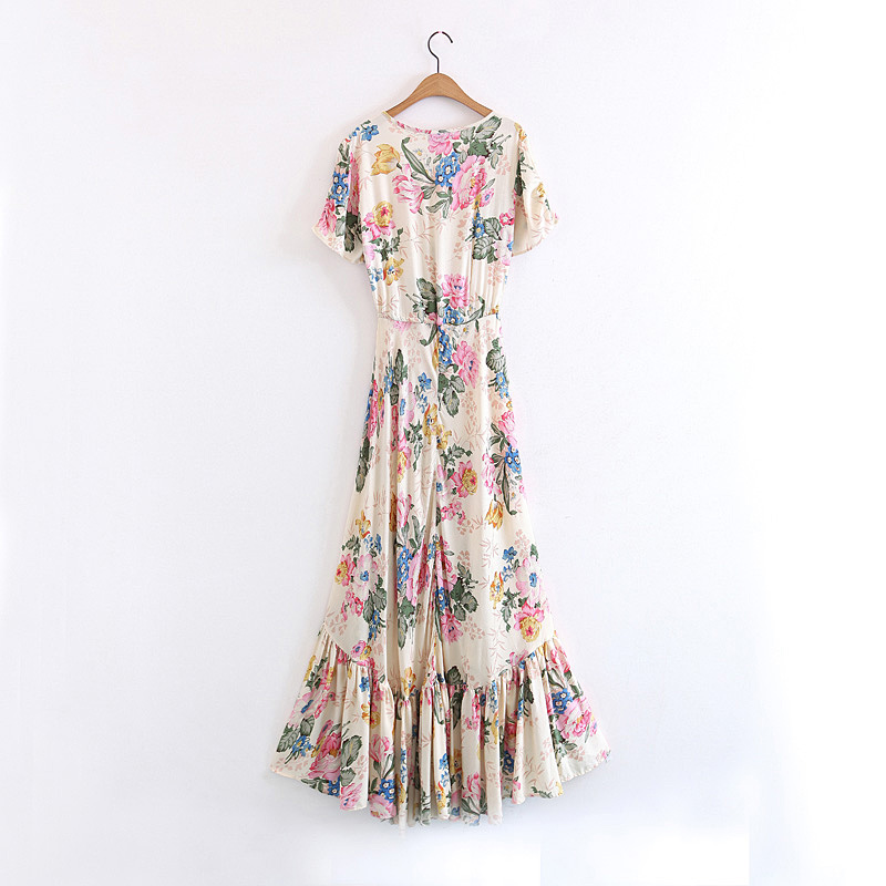 86476efa597c Boho maxi Dresses 2017 rayon and cotton Floral print hippie summer dress  short sleeve large swing Vintage Women dress Vestidos-in Dresses from  Women s ...