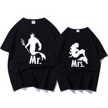 Verano Top Fashion Fashion Clothes Mermaid Print camiseta divertida Femlae manga corta Loose Tee Shirt Pareja camiseta para mujer marca