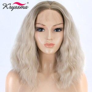 Perucas para mulheres loira ombre peruca dianteira do laço sintético peruca curta solta encaracolado marrom raízes bob glueless fibra de alta temperatura