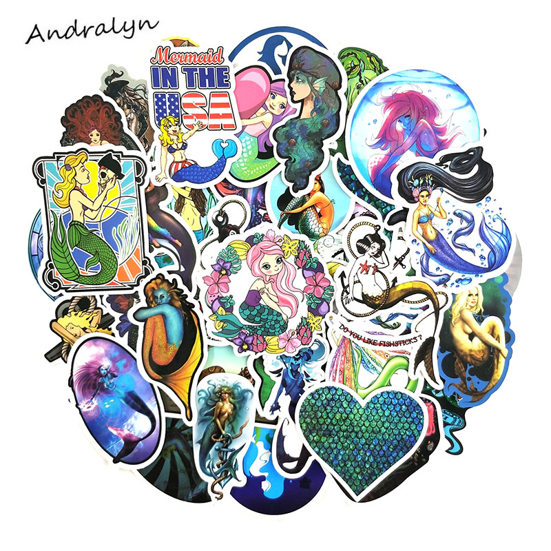 50 Pcs/pack Mermaid Cartoon Stickers For Refrigerator Skateboard Motorcycle Wardrobe Luggage Laptop Ocean Beauty Toys Sticker