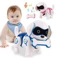 Animal de estimação eletrônico brinquedo cães com música cantar dança andando inteligente mecânica detecção infravermelha inteligente robô cão brinquedo animal presente