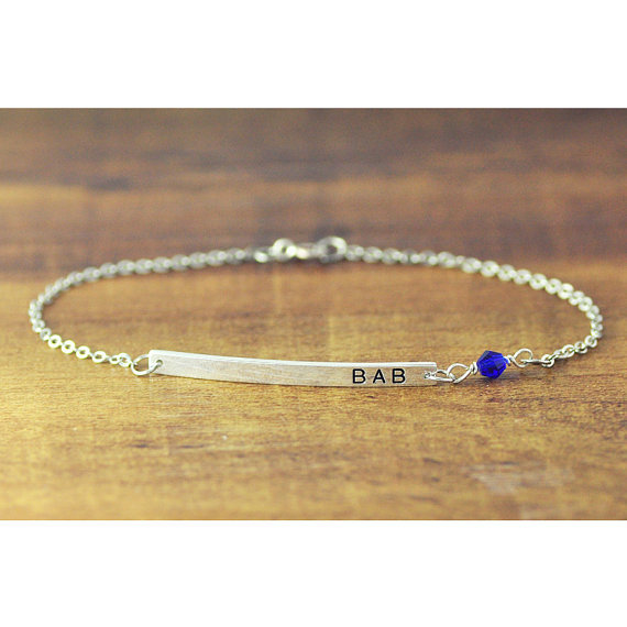 Personalized Bar Bracelet Hand Stamped Engraved Name