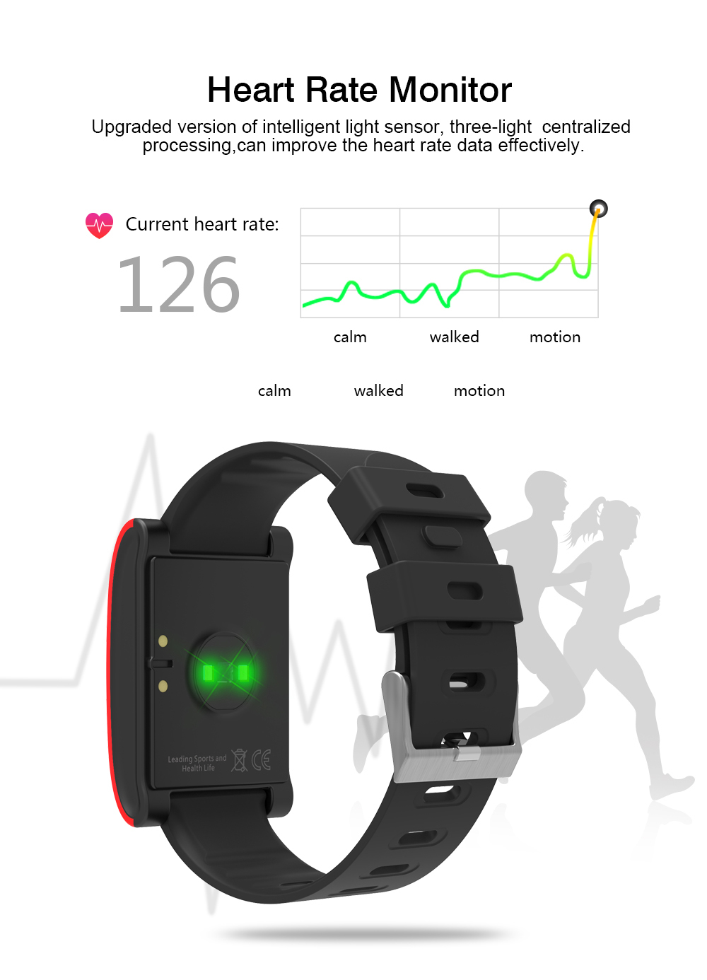 HUINIU DM68 Smart Bracelet Band Pedometer Distance Analysis Fitness Tracker Heart Rate Tracker Blood Pressure For iPhone Android 8