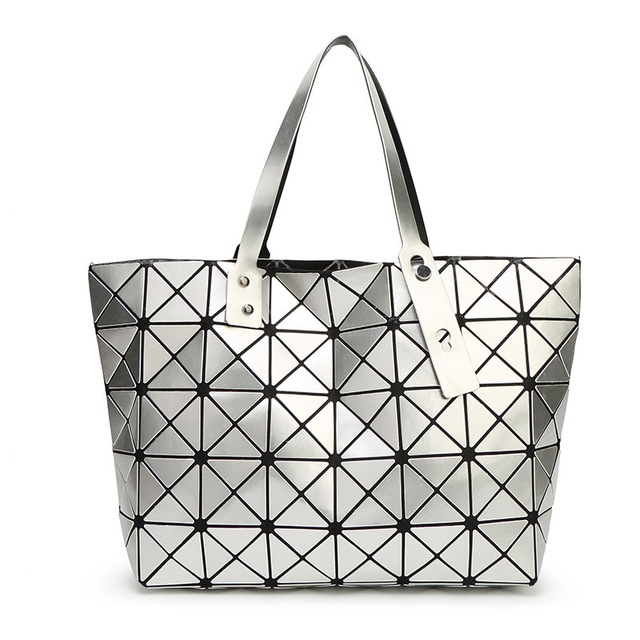 2018 New Fashion Women Pearl Bag Diamond Lattice Tote Geometry Quilted  Handbag Geometric Mosaic Shoulder Bag With Logo