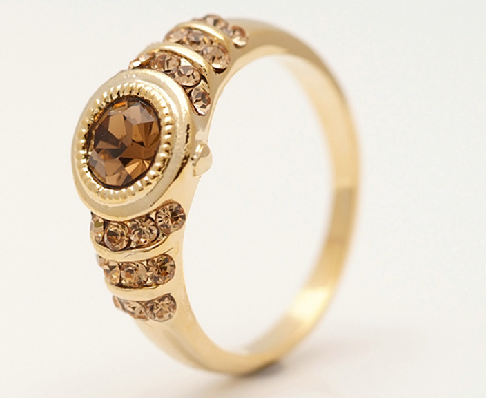 Wholesale Price 10K Yellow Gold Filled Womens White Sapphire