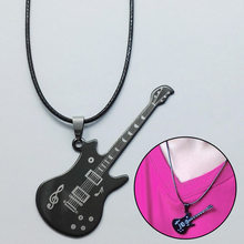 Hot 1pc Cool Punk Black Stainless Steel Guitar Pendant & Necklaces Leather Chain Men Women Costume Jewelry Drop Shipping(China)