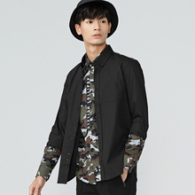 gxg.jeans Men's winter black Slim youth trendy printing long-sleeved shirt 64603011(China)