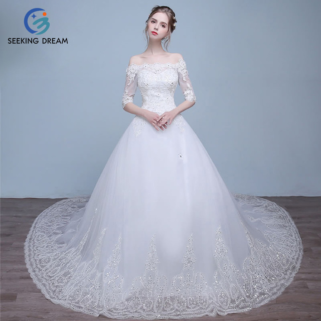 765ce03a953 2017 Verano Niña Musulmana Sexy Strapless vestido de Bola Del Vestido  Blanco Vestido de Novia Capilla