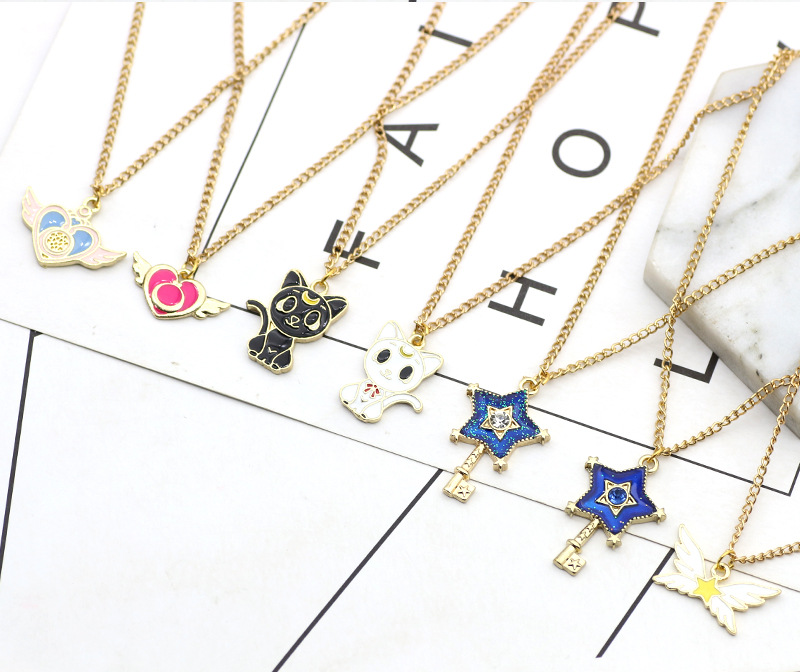 12pcs/lot Japan Stylish Caetoon Sailor Moon Luna Stars Necklace Hanging Accessories Birthday Festival Party Take home Favors
