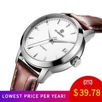 STARKING Brand Women Auto Date Automatic Mechanical Watches Sapphire Genuine Leather Strap Black Business Dress Watch AL0184