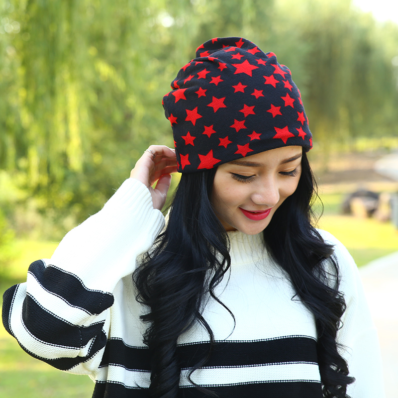 Fashion Five-Pointed Star Print Hat   Skullies   Autumn Winter Hood Warm   Beanies   For Women Windproof Maternity Pregnant Mother Cap