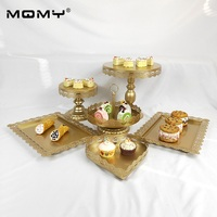 Cupcake Wedding 6 Pcs/Set Dessert Metal Crystal Fruit 1 Tier Wholesale Round Decorating Gold White Pink Cake Stand