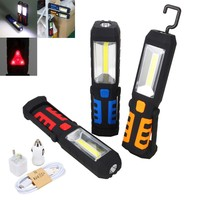 New Portable COB LED Flashlight Magnetic Work Light Rechargeable 360 Degree Stand Hanging Torch Lamp For