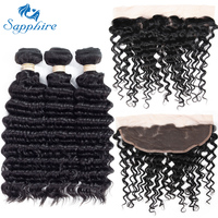 Sapphire Deep Wave Remy Human Hair 3 Bundles With 13 4 Lace Frontal 1B Color For