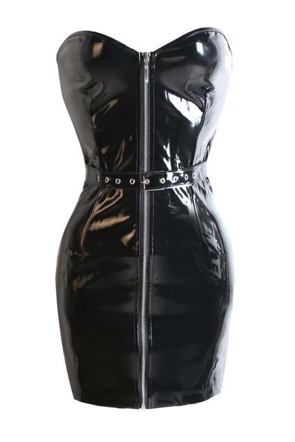 8b6a24eb4be1 Vocole Women Gothic Steampunk Black PVC Mini Dress Bustier Bodycon Zip Up Club  Dresses Partywear Size