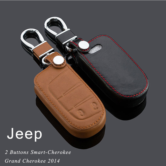 Genuine Leather Car Keychain Key Case Cover for Jeep 2011- 2014 2015 Grand Cherokee 2/3/4 Buttons Smart Car KeyChain Car Rings
