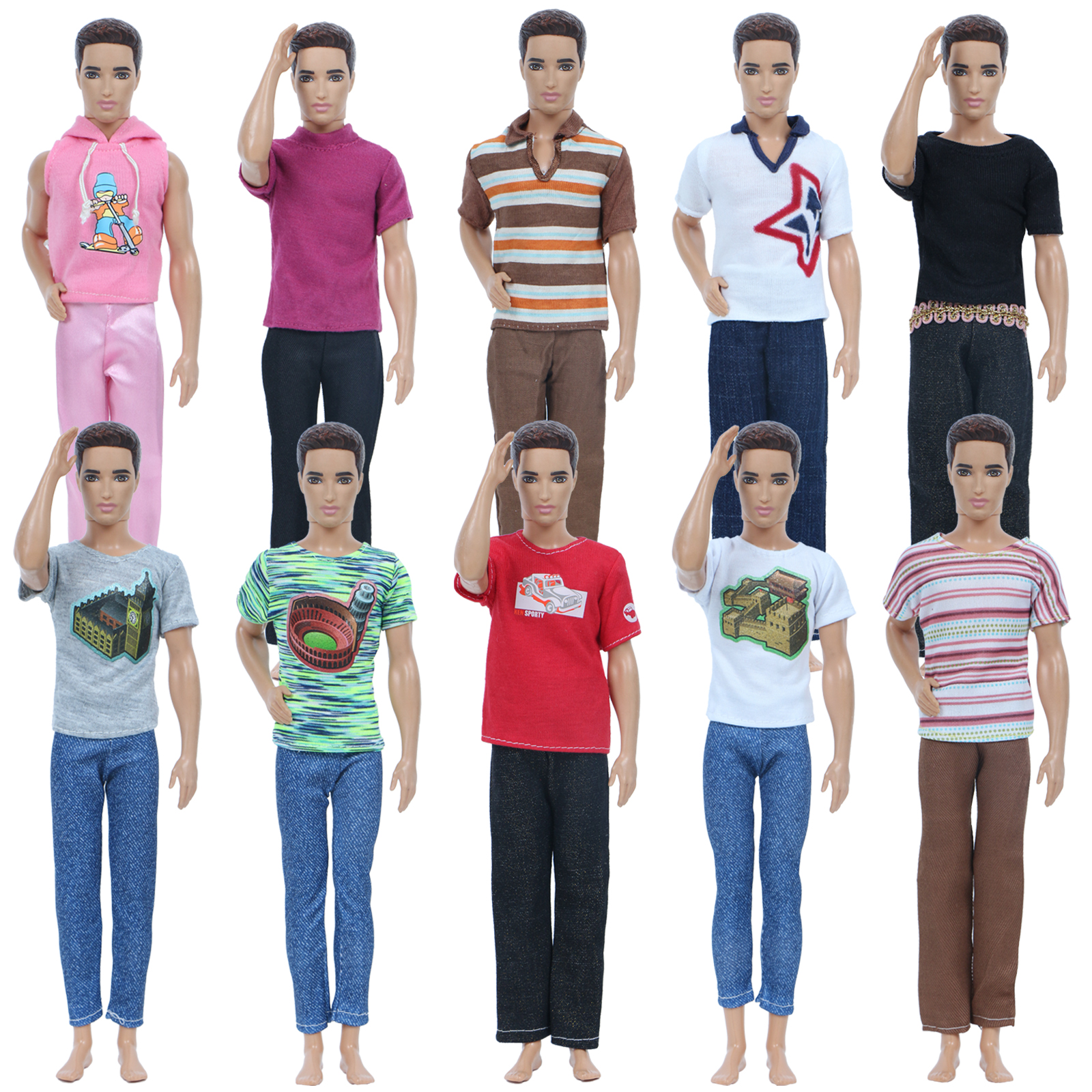 Lot 5Sets Casual Clothes Outfits Shirt Pant For 18/'/' Boy Doll 2 pair of Shoes