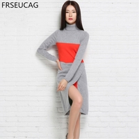 FRSEUCAG 2017 Spring And Autumn New High Collar Slim Sets Of Retro Knit Dress Long Sleeved
