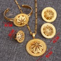 Big Size Ethiopian Eritrea Wedding Scrub Jewelry Set 24k Gold Plated African Ethiopia Bride