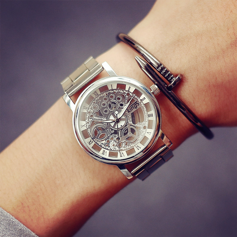 2017 New Fashion Imitation Machinery Men Watch Quartz Gold Watches Casual Top Brand Luxury Hollow stainless Steel Wristwatches